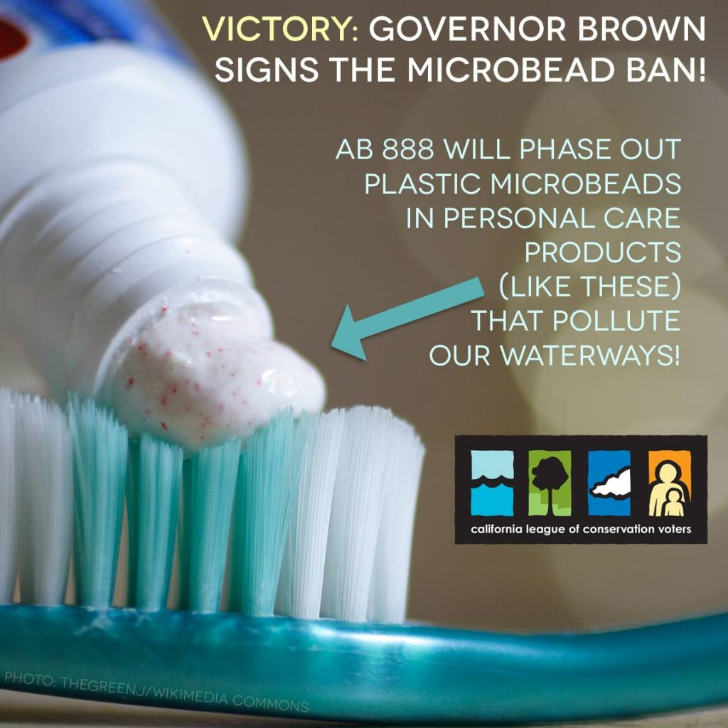 Image of toothbrush and toothpaste with microbeads