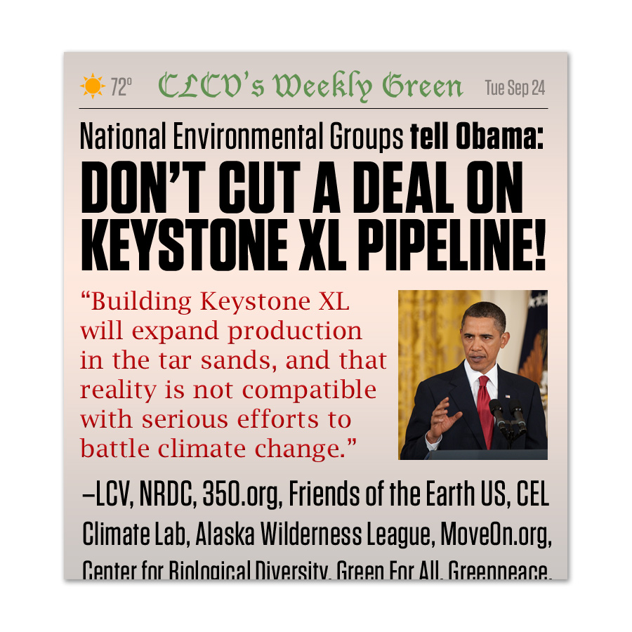 Faux newspaper to encourage feedback to President Obama on the Keystone oil pipeline.