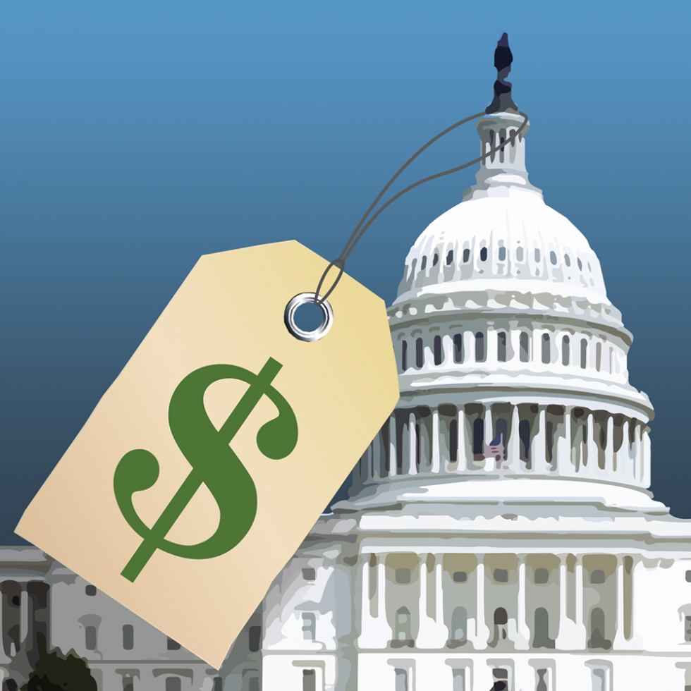 U.S. Capitol with a giant price tag on it