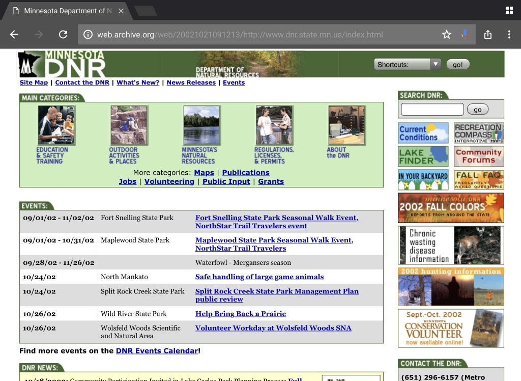 Screenshot of MN DNR homepage