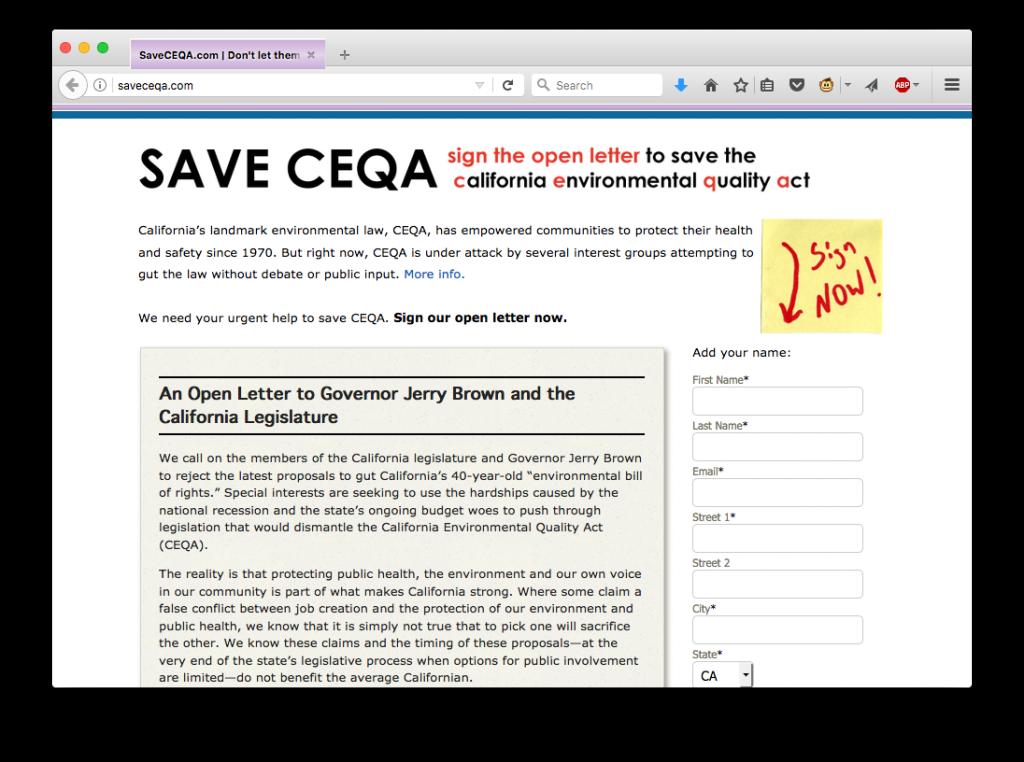 Save CEQA screenshot