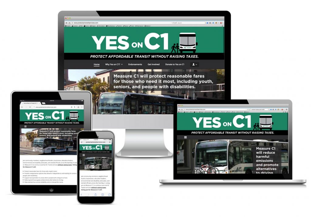 The Yes on C1 site on a variety of screens